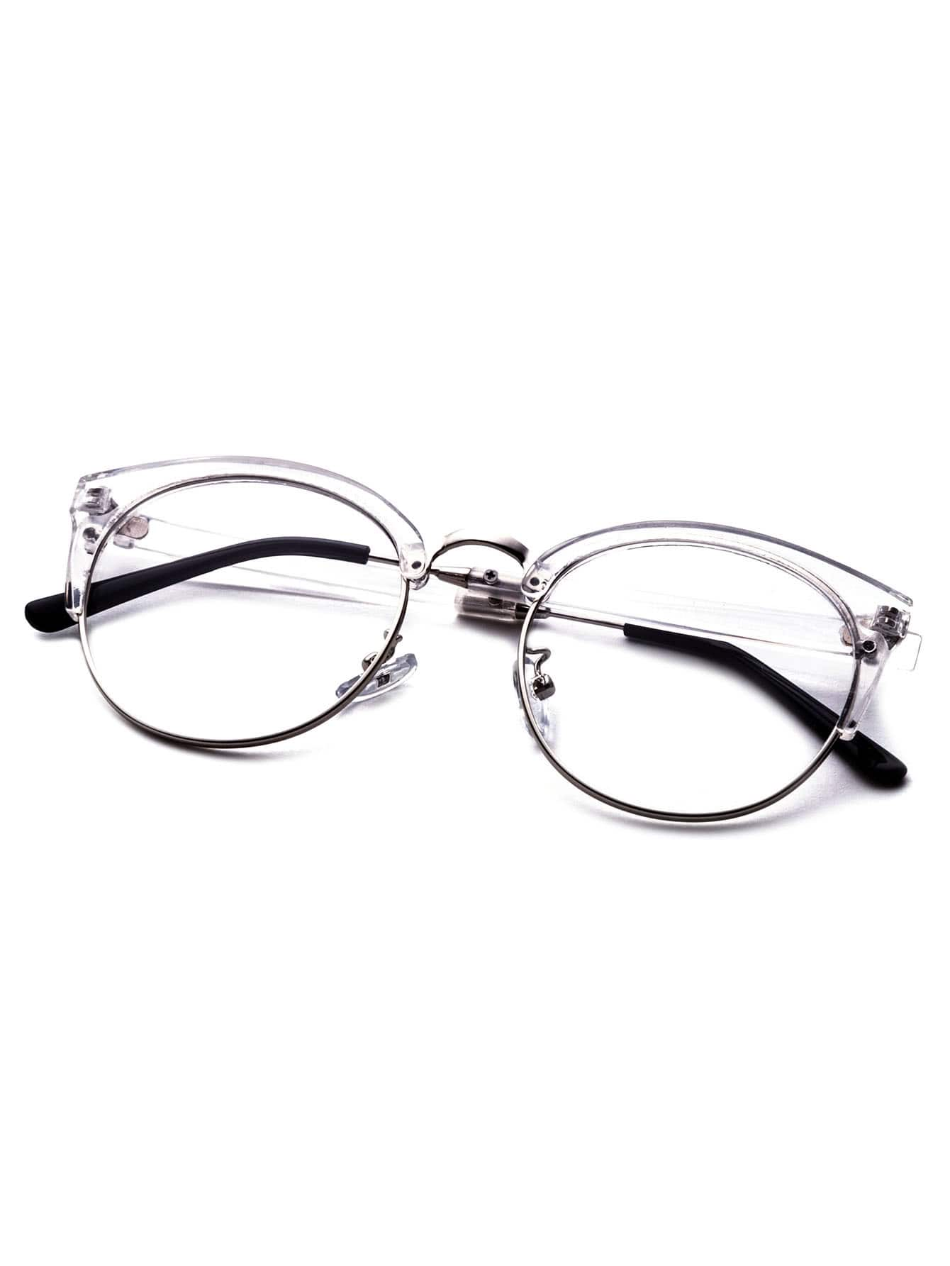 Rimless Clear Glasses : Clear Frame Semi Rimless Metal Trim Glasses -SheIn(Sheinside)