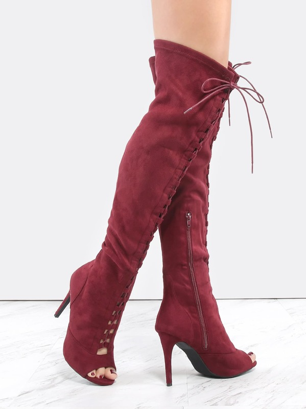 8b4df5df9a Thigh High Lace Up Stiletto Boots BURGUNDY | SHEIN