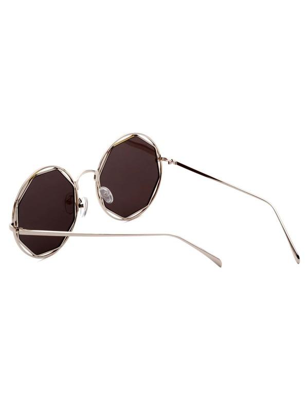 f72e3c65b6 Gafas de sol marco plata con lentes gris hueca | SHEIN ES