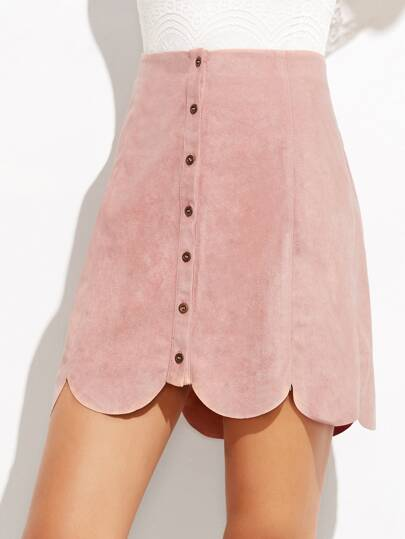 Pink Suede Button-Up Scallop Panel Skirt