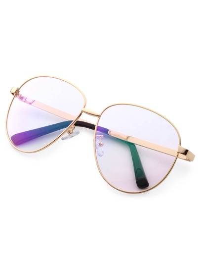 Gold Frame Large Lens Vintage Glasses -SheIn(Sheinside)