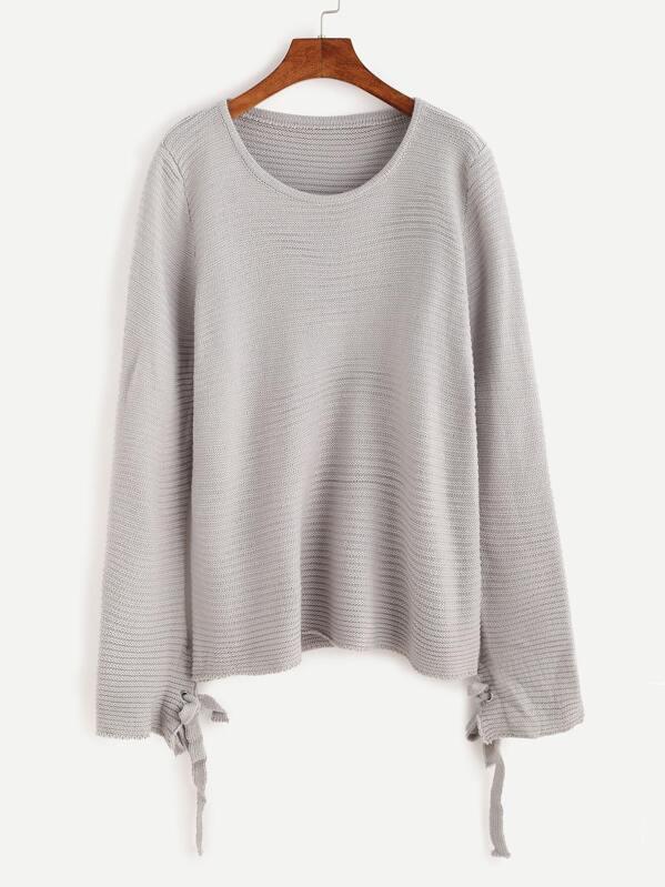 bd9186dede9c52 Grey Eyelet Tie Cuff Sweater | SHEIN