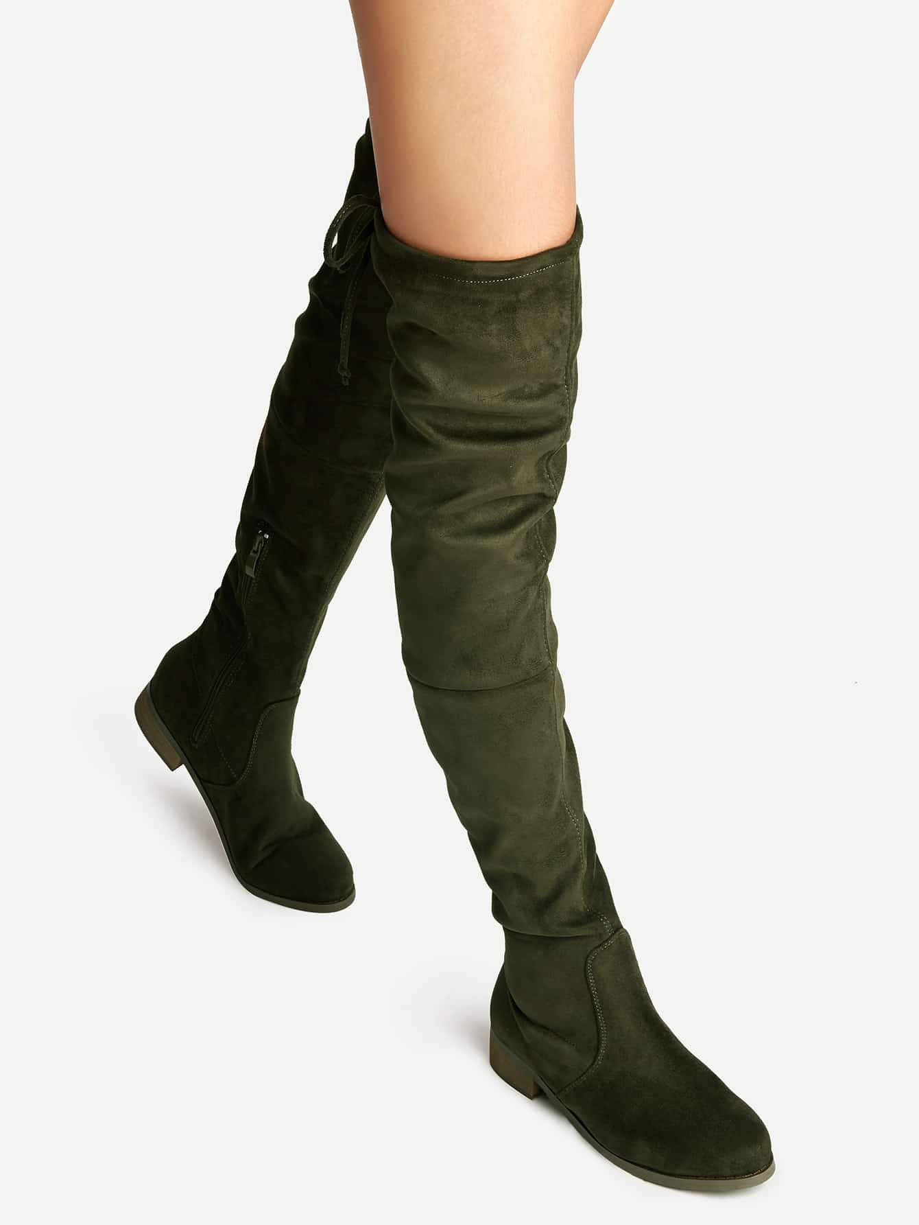 olive green suede lace up the knee boots shein