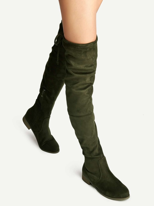 48c741740fd Olive Green Suede Lace Up Over The Knee Boots