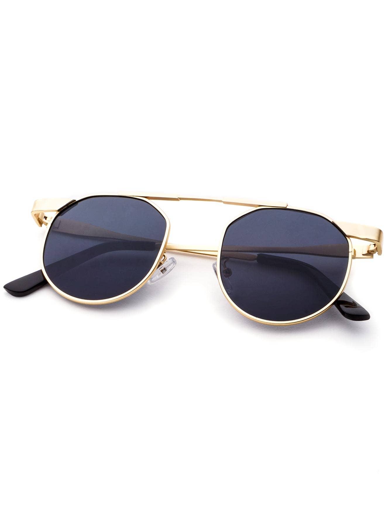 Gold Frame Round Lens Brow Bar Sunglasses -SheIn(Sheinside)