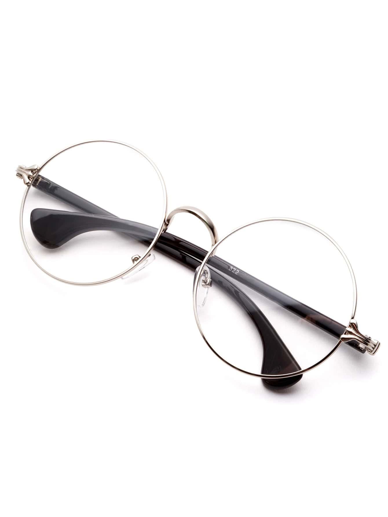 Silver Frame Black Arm Clear Lens Glasses