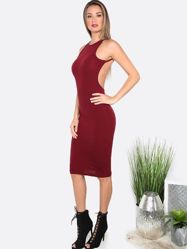 f4153989f Vestido escote redondo sin espalda entallado - borgoña