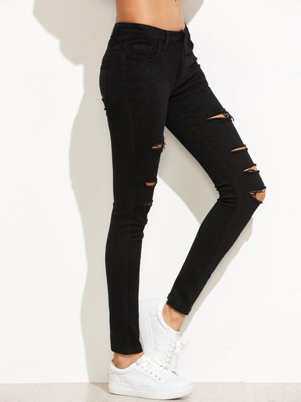 ccd1fa4bf2e Pantalones rotos skinny rotos - negro | SHEIN ES