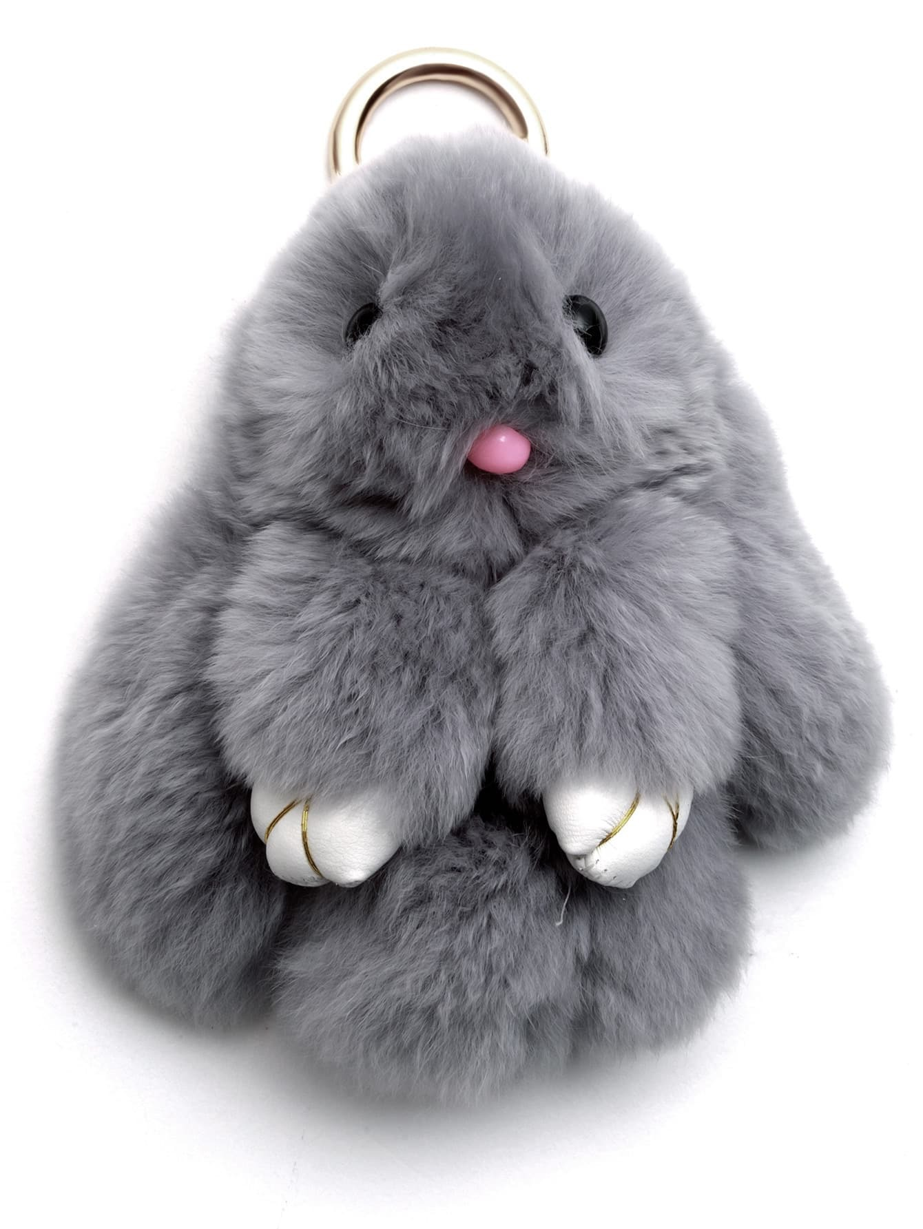Light Grey Fluffy Bunny Keychain -SheIn(Sheinside)