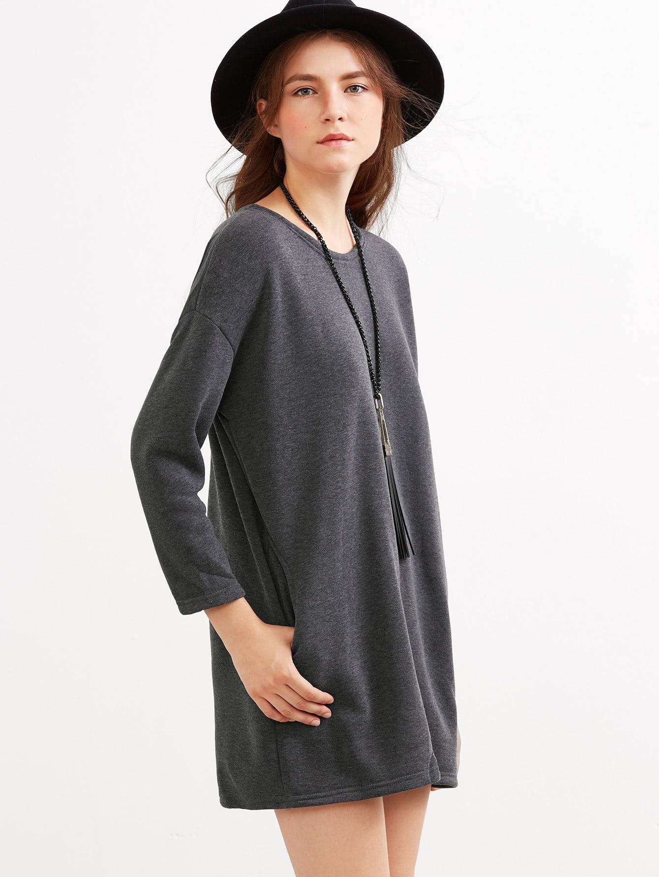 Grey Drop Shoulder Pockets Shift Dress