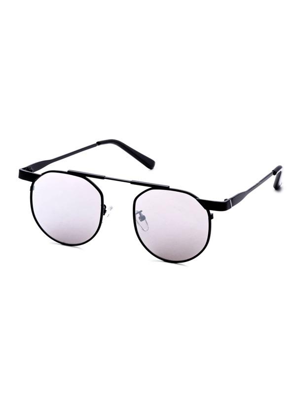 662d877989 Black Frame Round Lens Brow Bar Sunglasses -SheIn(Sheinside)