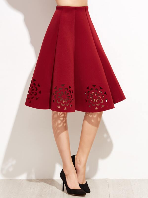1ad0a41029a93b Cheap Burgundy Laser Cut Out Pleated Skirt for sale Australia | SHEIN