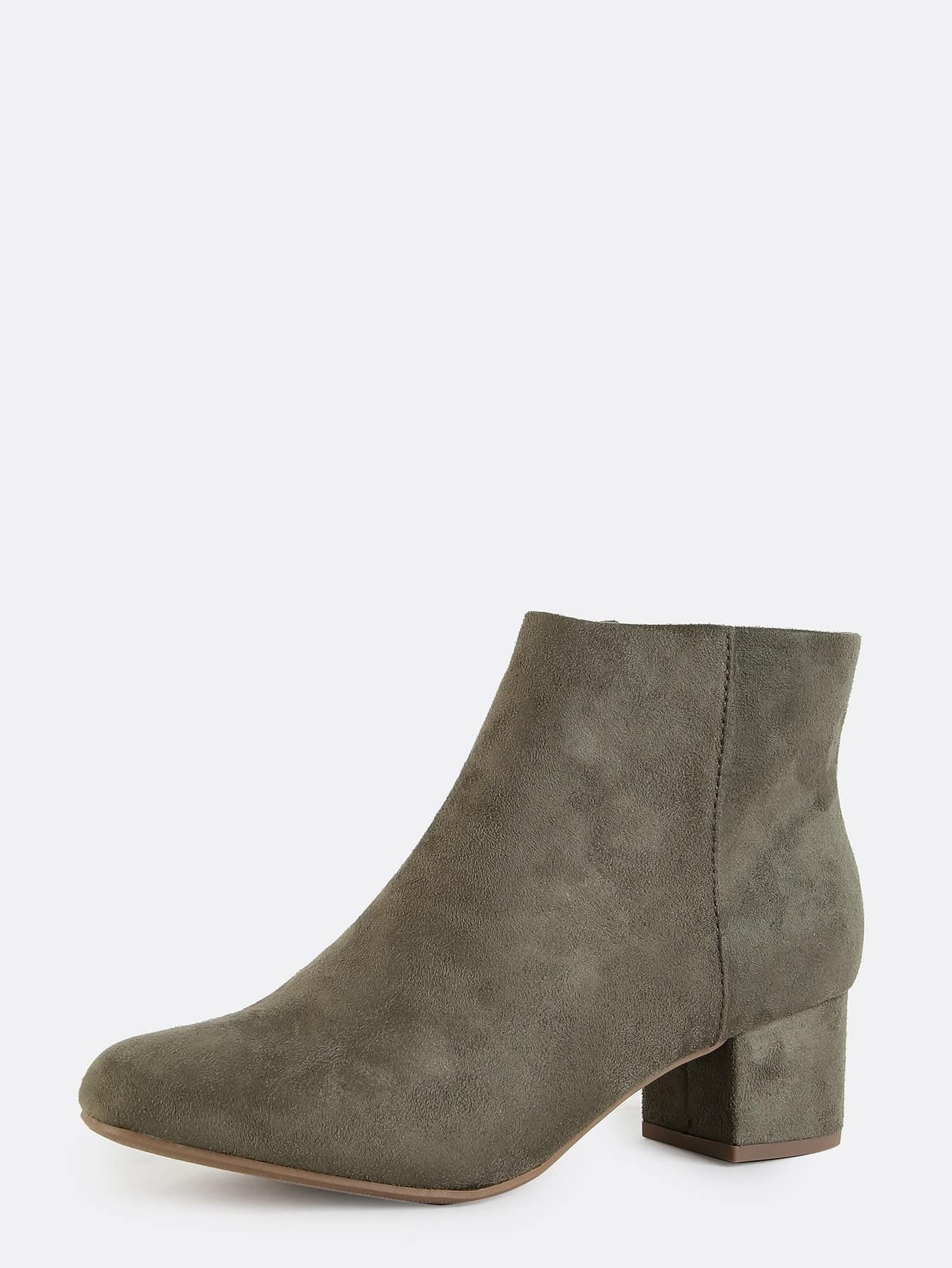 faux suede almond toe ankle boots olive shein sheinside