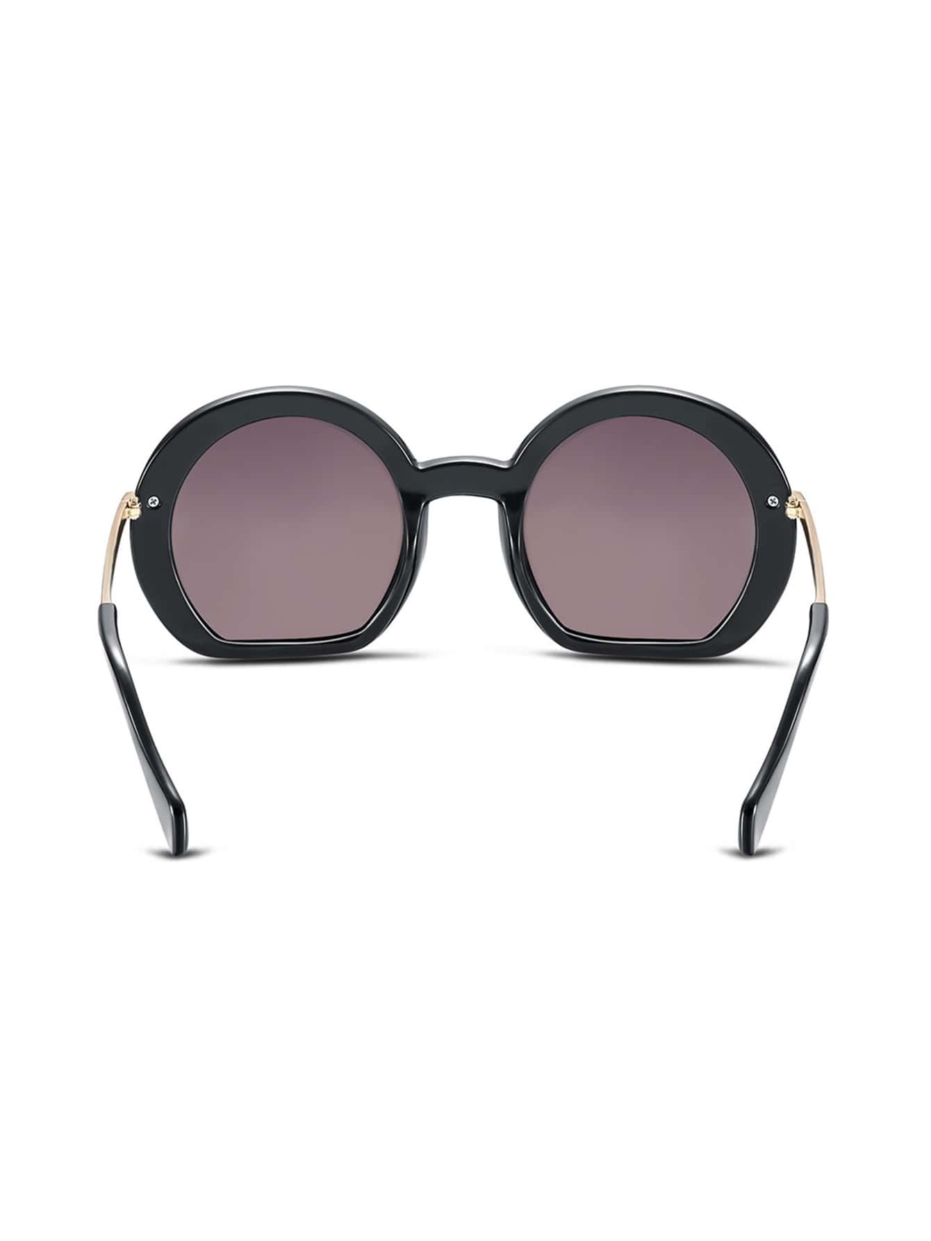 Big Gold Frame Sunglasses : Black Frame Large Lens Gold Arm Sunglasses -SheIn(Sheinside)