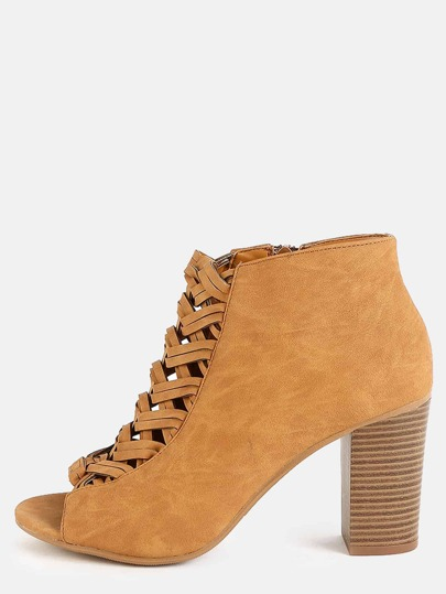Woven Chunky Heel Ankle Booties TAN