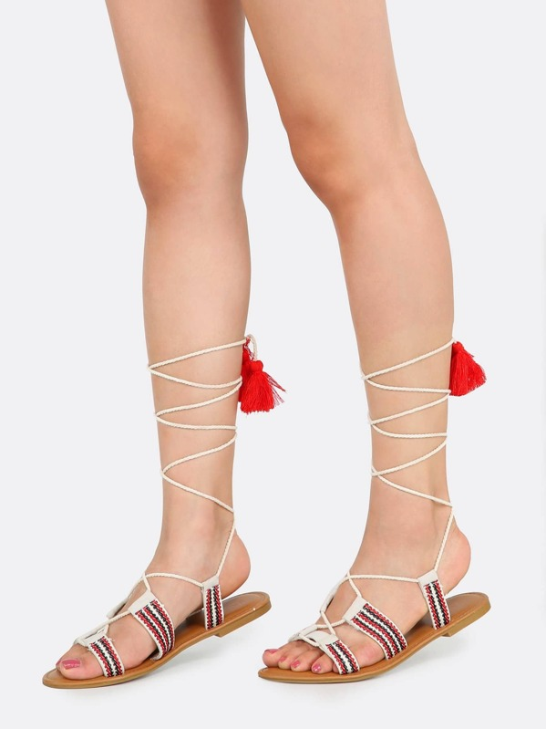 c7e9b6f5327 Embroidered Lace Up Gladiator Sandals IVORY. AddThis Sharing Buttons