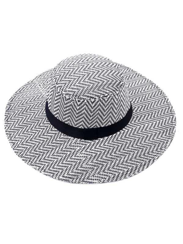 Cappello Di Paglia A Tesa Larga - Nero Bianco-Italian SheIn(Sheinside) b3c8394e2c9e