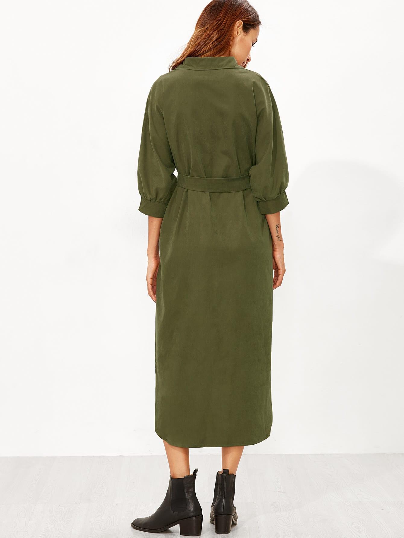 ab5c7b56f4 Vestido camisero asimétrico con cinturón - verde militar