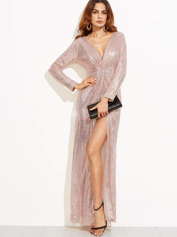 8cd89d9106 Cheap Deep V Neck Twist Front High Slit Sequin Dress for sale Australia |  SHEIN