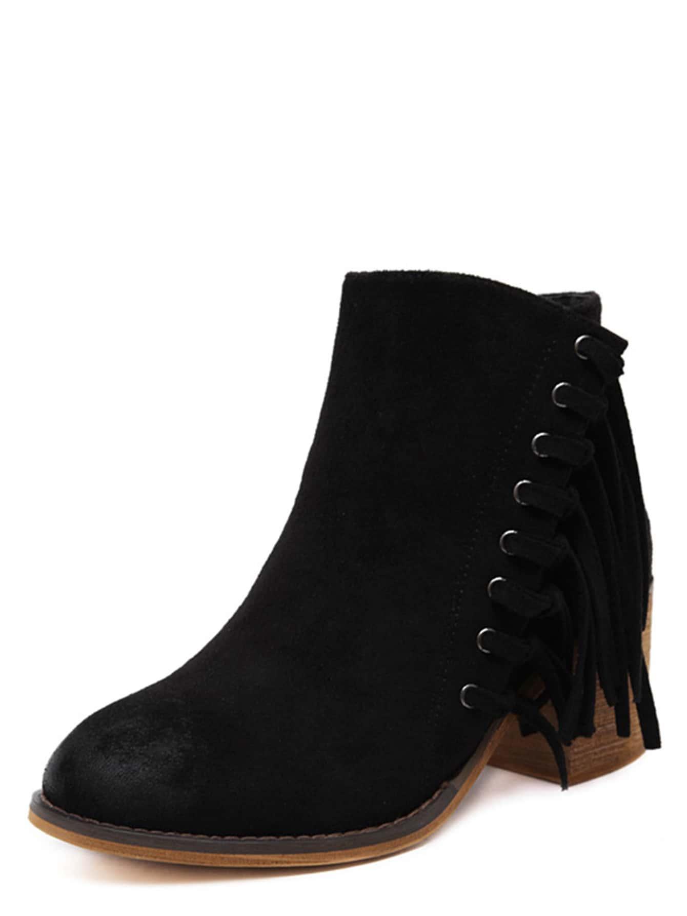 black faux suede tassel trim cork heel ankle boots shein