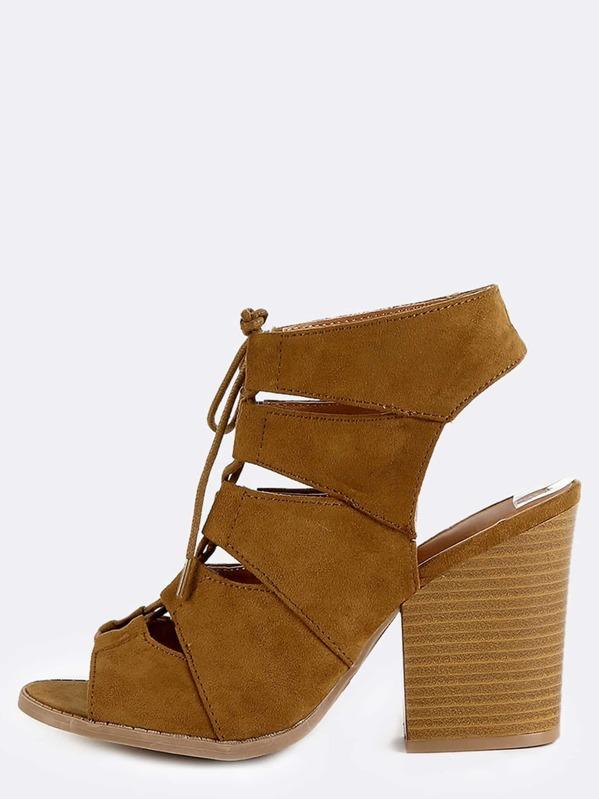 436fc1999b4 Block Heel Suede Lace Up Heels CAMEL
