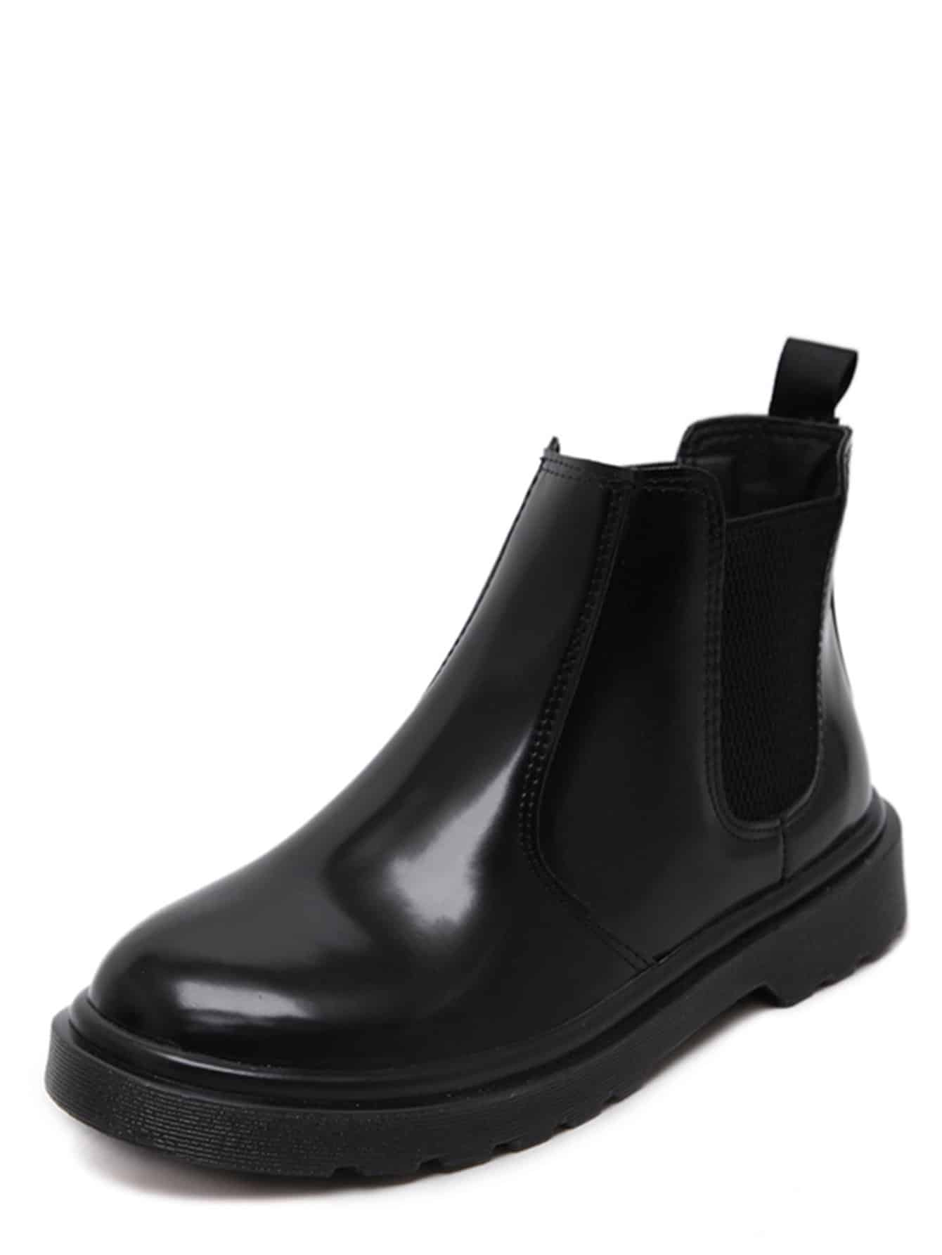 Black Faux Leather Round Toe Elastic Ankle Boots