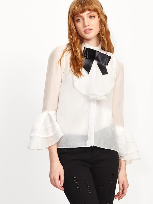 mode la plus désirable images détaillées magasin en ligne Chemise à volant col avec lacet en nœud papillon - blanc