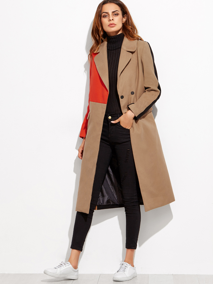 7cdbf7af8d Colorblock Double Breasted Coat | SHEIN