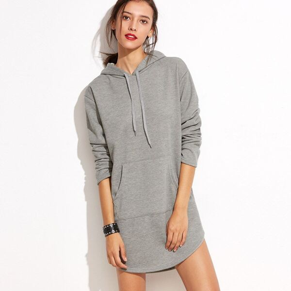 Hooded Pocket Curved Hem Sweatshirt Dress, Grey