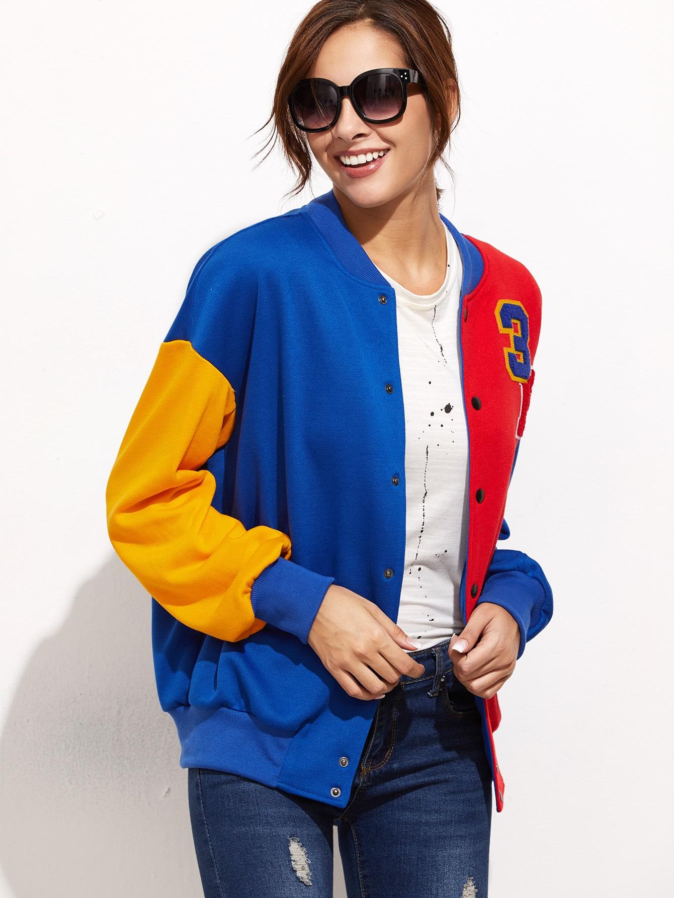 Colorblock Drop Shoulder Varsity Baseball Jacket