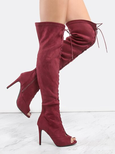 a1de6398646 Thigh High Lace Up Stiletto Boots BURGUNDY
