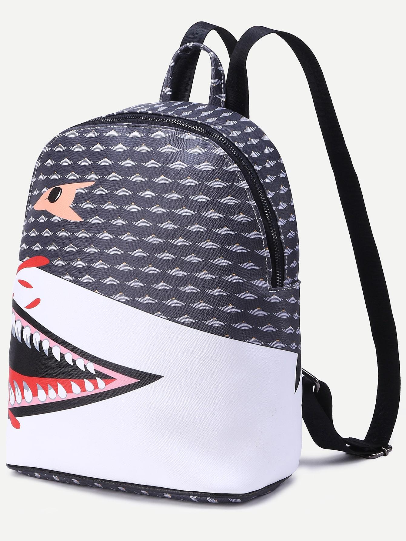 Zaino design bocca di squalo pu grigio italian shein for Decorazione zaino