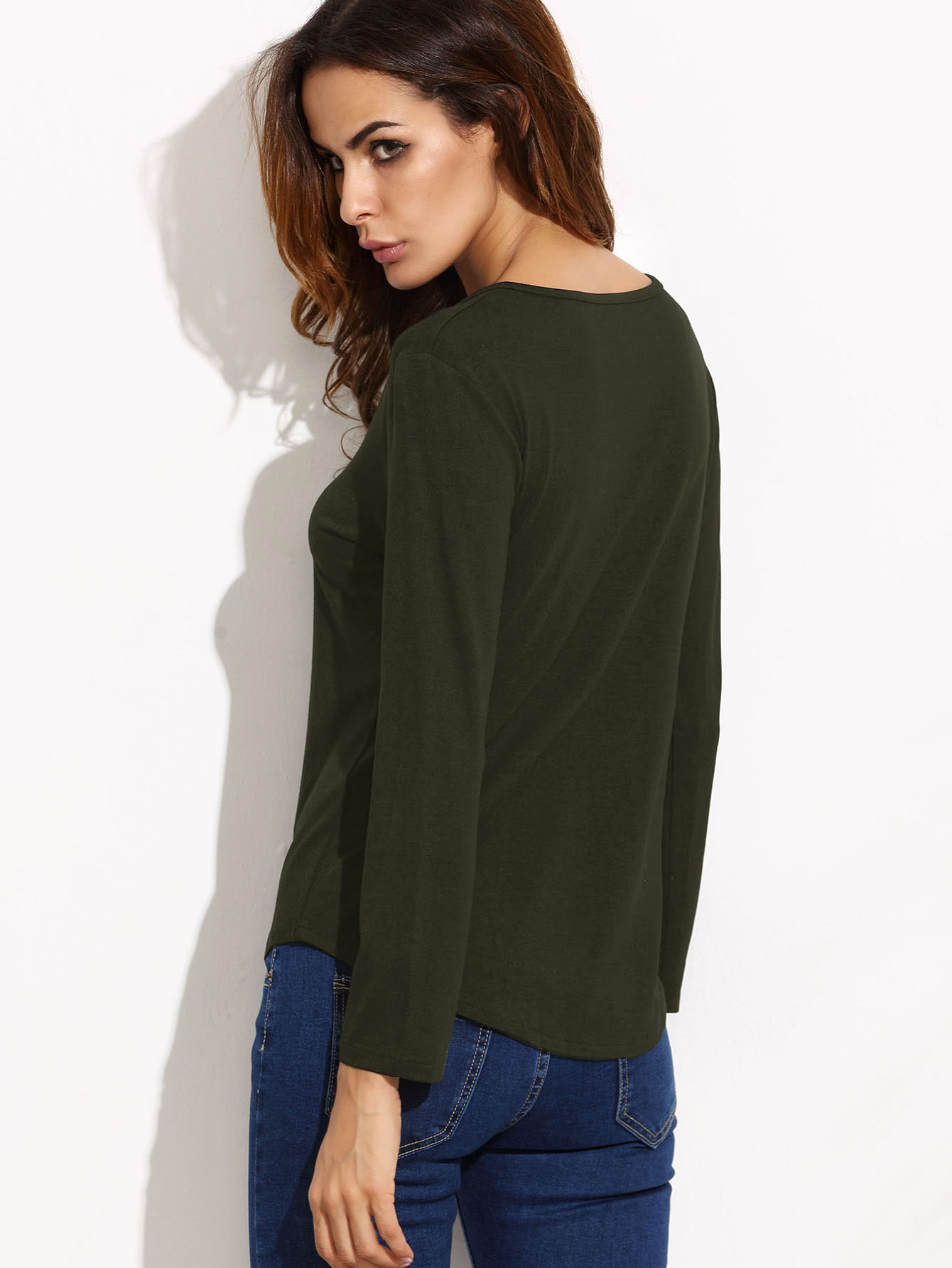 Army Green Lace Up Long Sleeve T-shirt