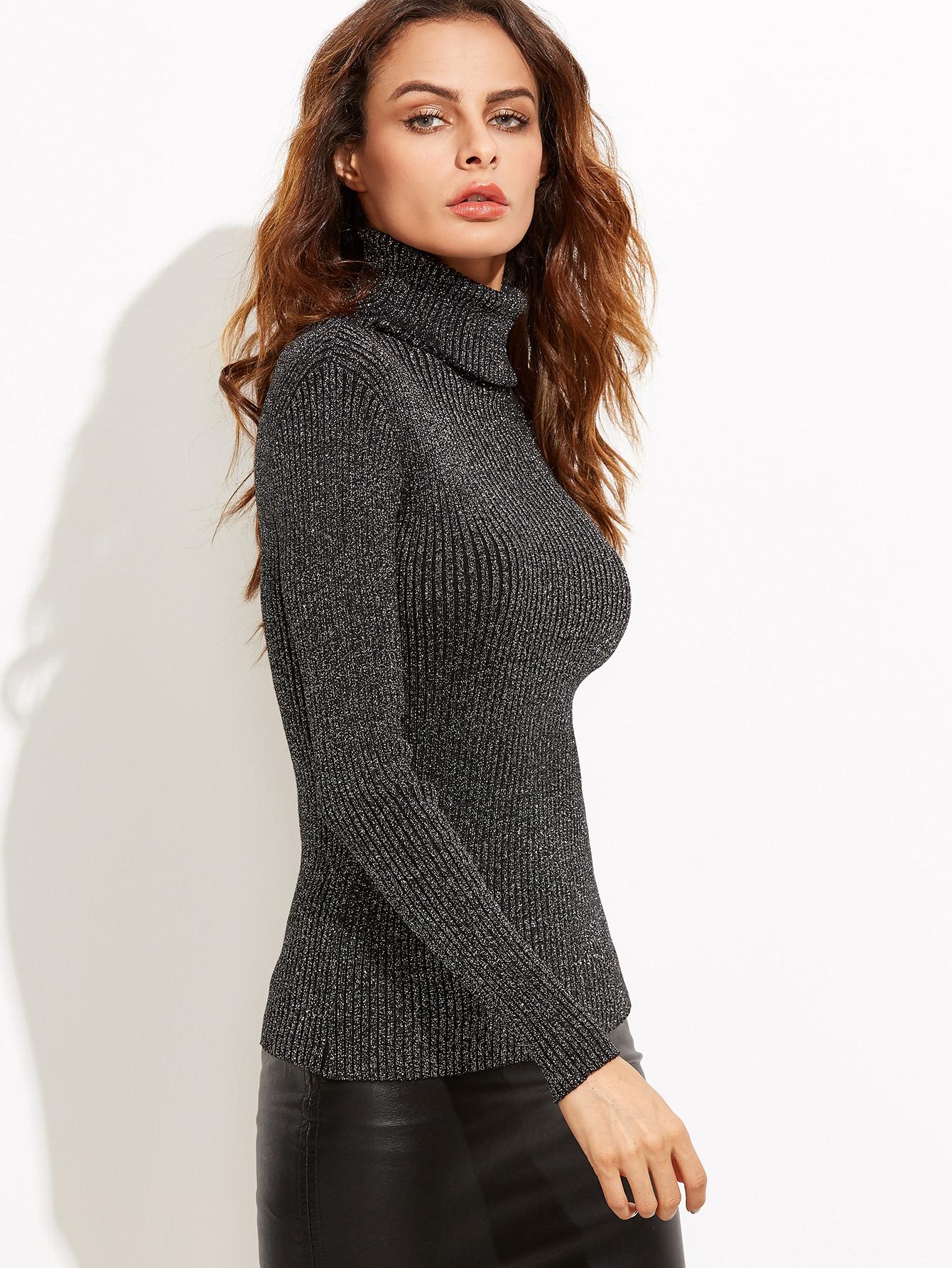 Black Turtleneck Ribbed Sweater