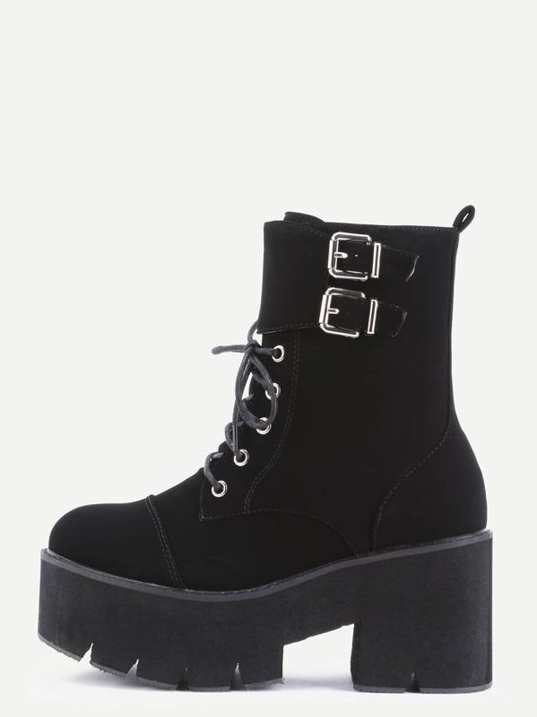 908b31612a Cheap Black Nubuck PU Cap Toe Lace Up Buckle Strap Platform Short Boots for sale  Australia | SHEIN