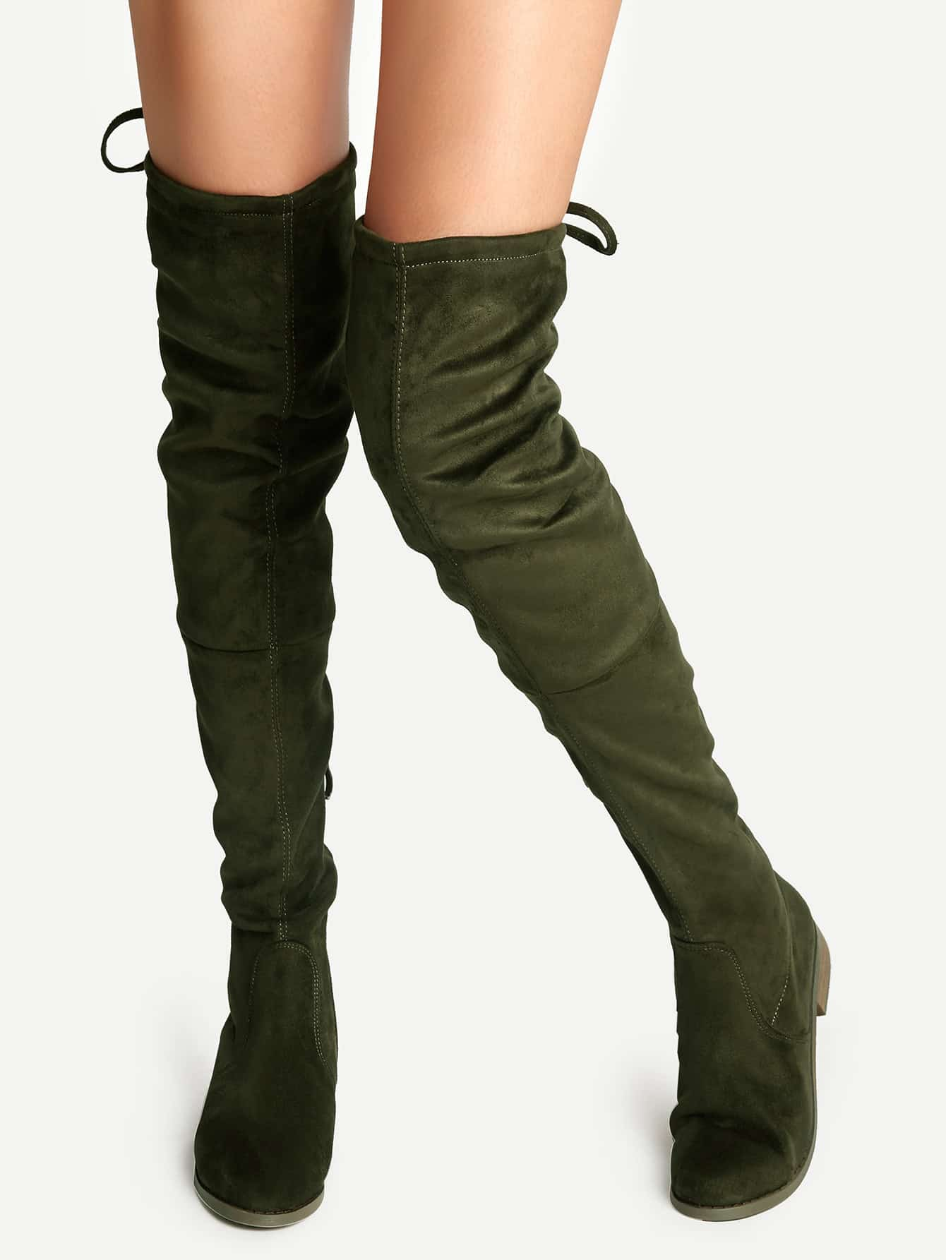 2d203536be54 Olive Green Suede Lace Up Over The Knee Boots | SHEIN UK