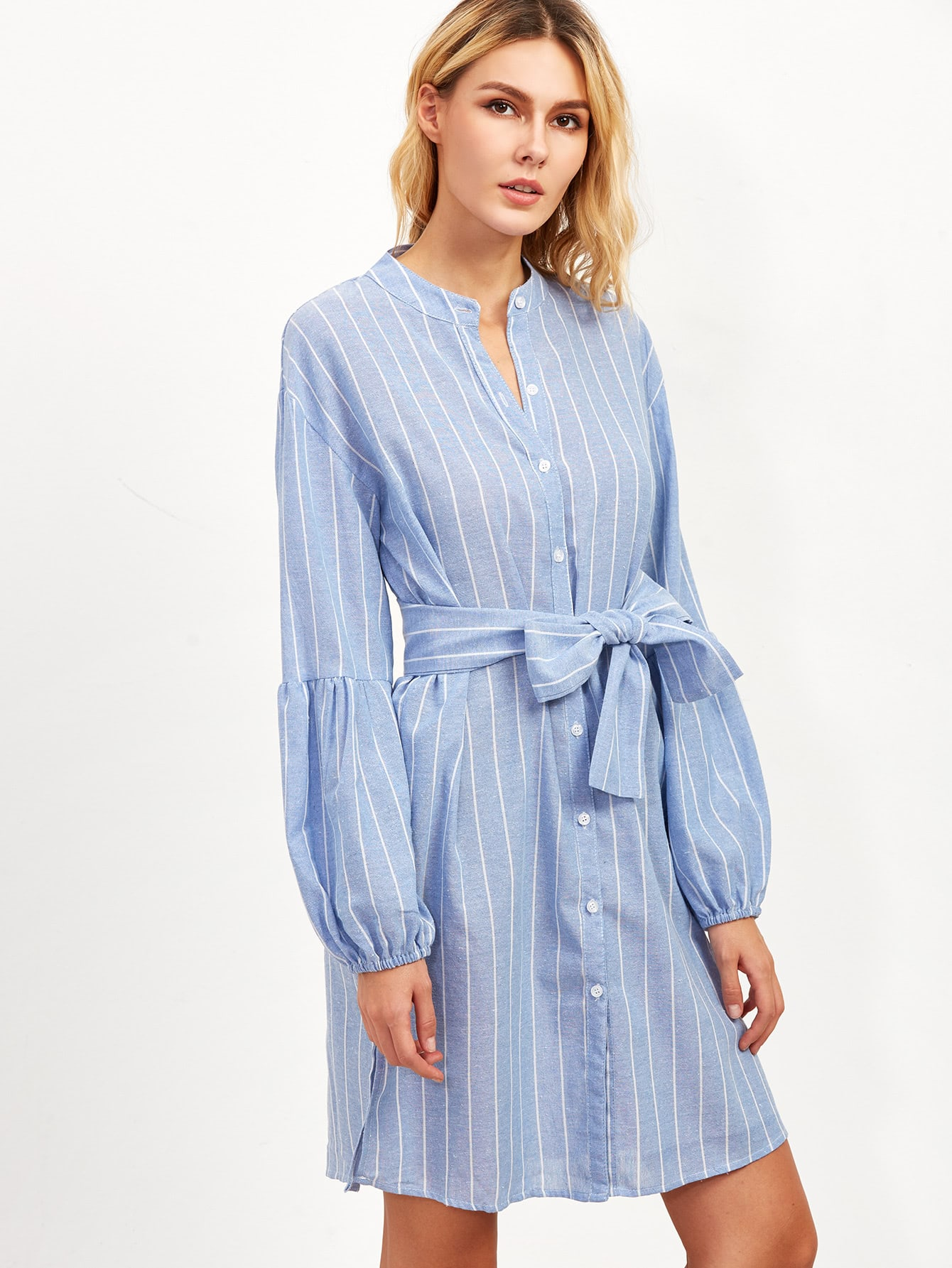 Blue vertical striped lantern sleeve belted shirt dress for Vertical striped dress shirt