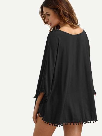 f69400d6bf Black V Neck Lace Insert Pom Pom Trim Blouse   SHEIN IN