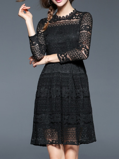 681fa80e22 Cheap Black Sheer Embroidered A-Line Lace Dress for sale Australia | SHEIN