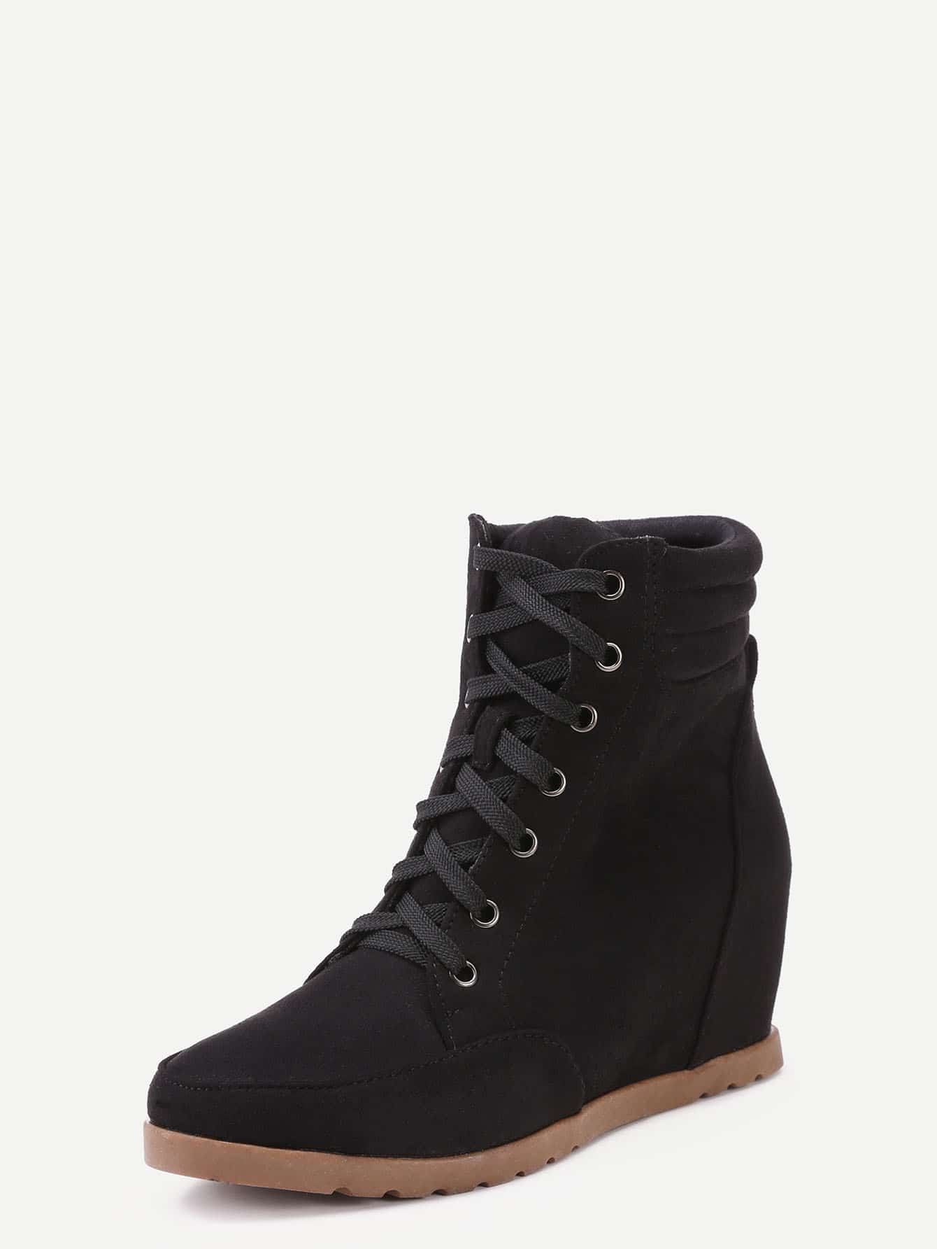 black faux suede lace up wedge heel ankle boots
