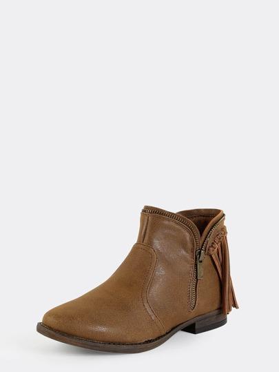 fringe low cut ankle boots chestnut shein sheinside