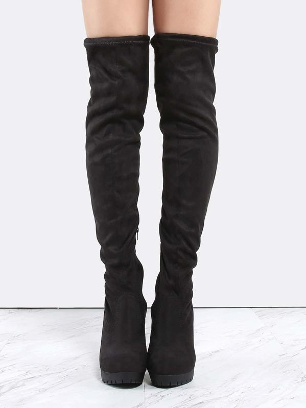 1275c060d Thigh High Lug Sole Boots BLACK | SHEIN