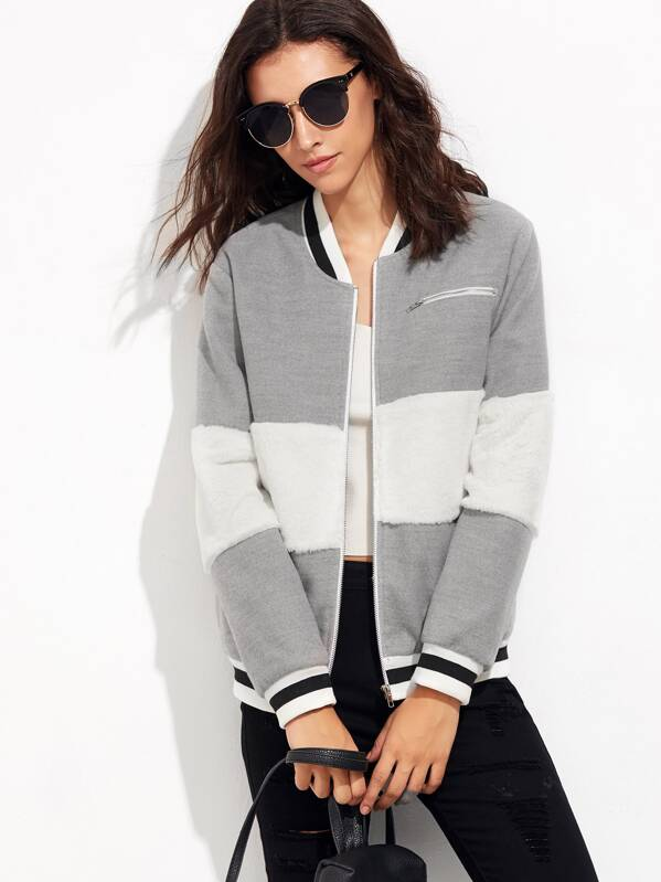 2a0a1654a Striped Trim Fluffy Panel Bomber Jacket