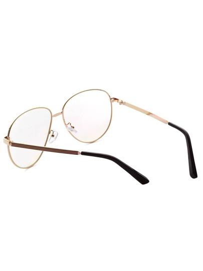 Gold Frame Large Lens Vintage Glasses -SheIn(Sheinside)