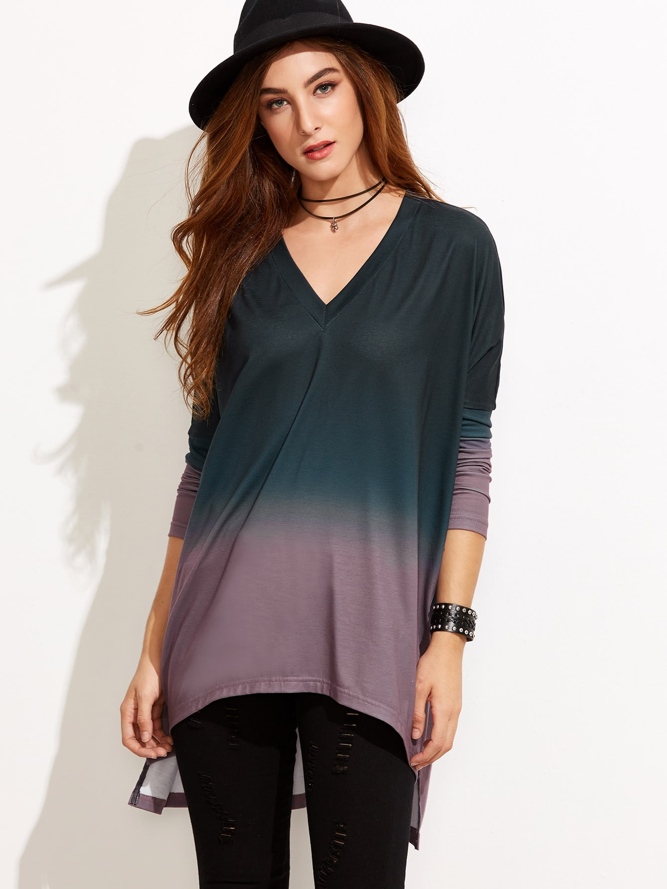 Ombre V Neck High Low T-shirt