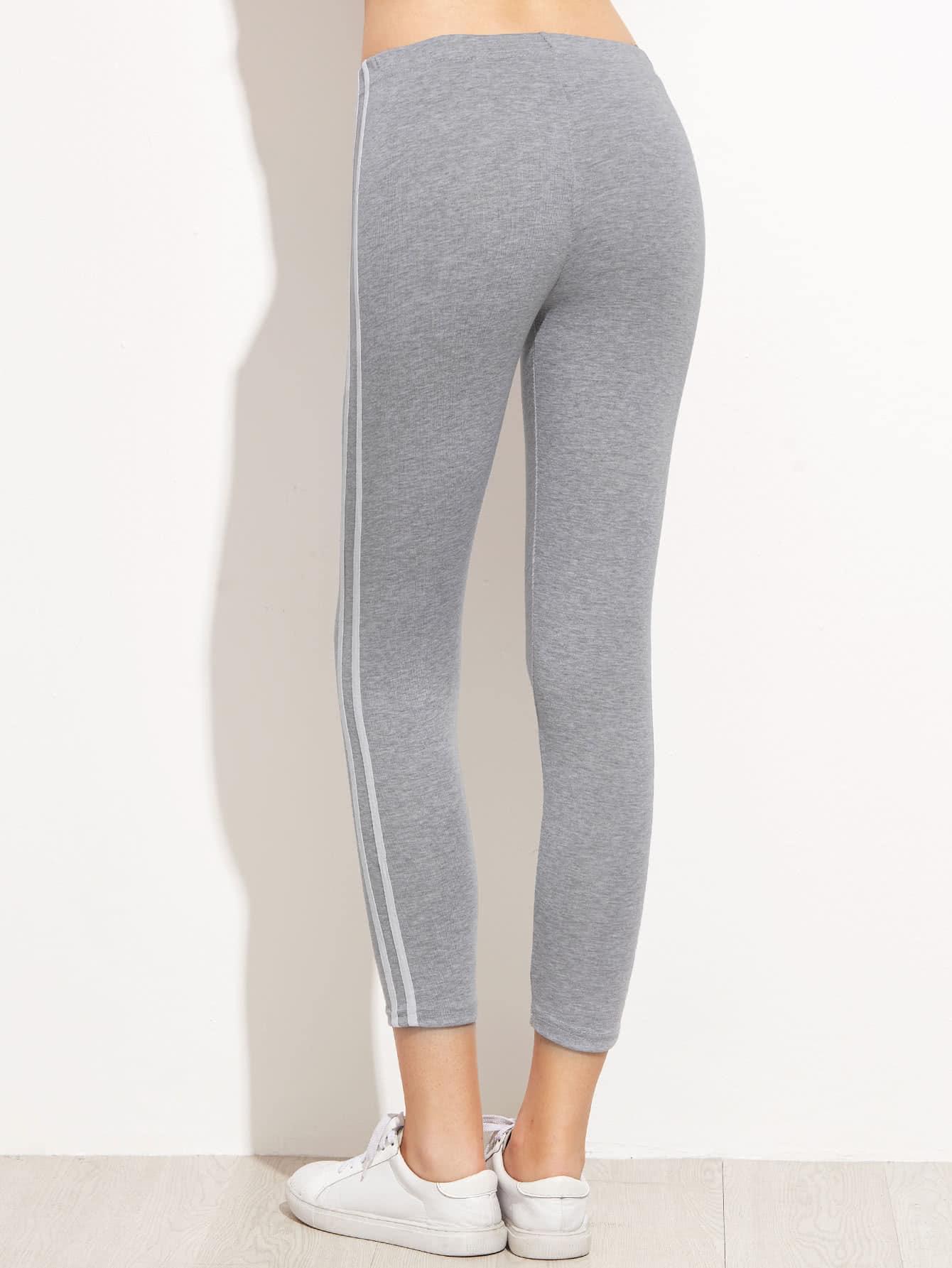 Grey Striped Side Leggings
