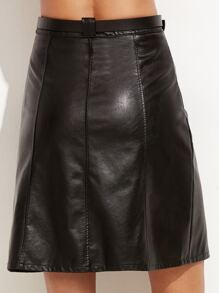 da2dc54a68 Black Faux Leather A-Line Skirt With Belt | SHEIN