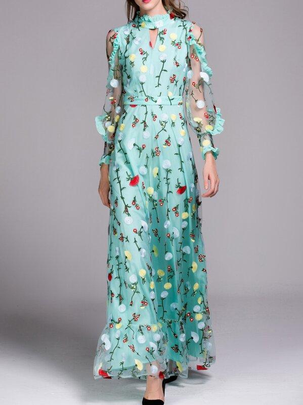 d2f6168c00 Green Sheer Ruffle Flowers Gauze Embroidered Maxi Dress | SHEIN UK