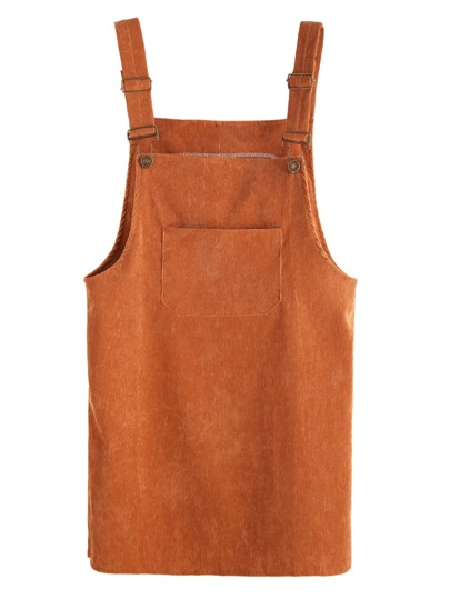 Khaki Corduroy Overall Dress With Pocket