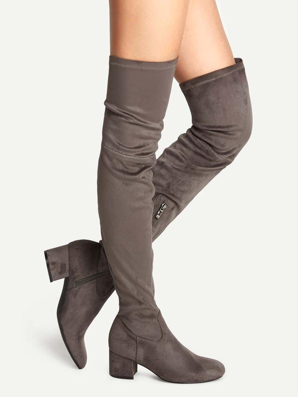 de0248e6801 Grey Knee High Chunky Heel Boots